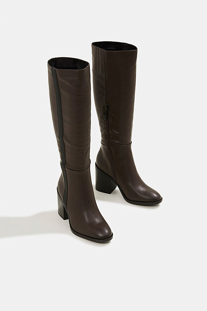 Faux leather boots, DARK BROWN, detail image number 6
