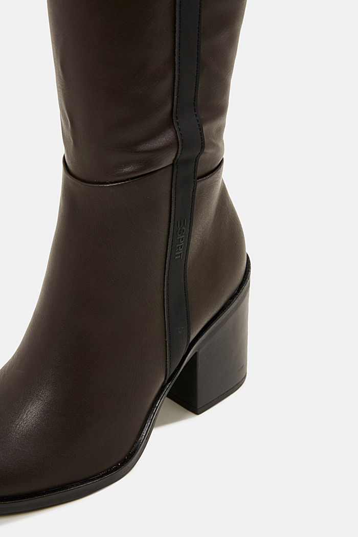 Faux leather boots, DARK BROWN, detail image number 4