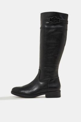 Faux leather riding boots, BLACK, detail