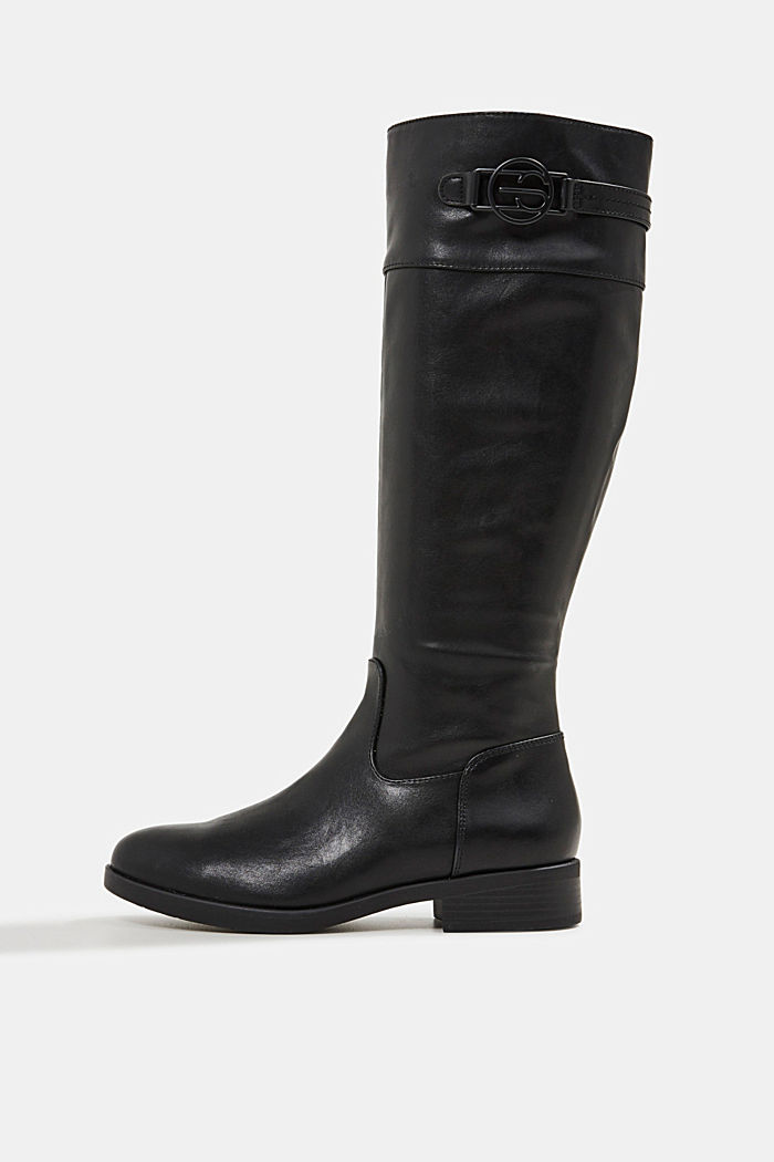 Faux leather riding boots, BLACK, overview