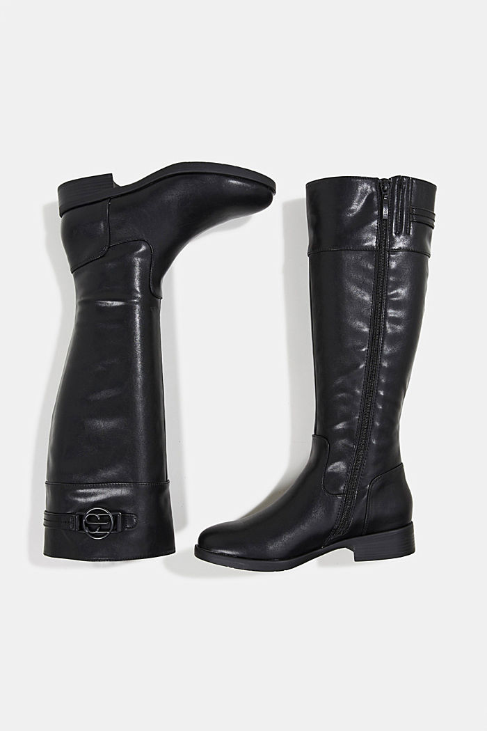 Faux leather riding boots, BLACK, detail image number 1
