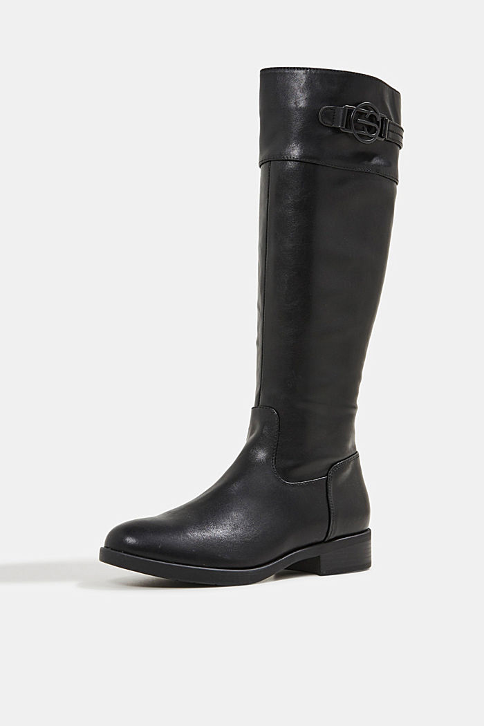 Faux leather riding boots, BLACK, detail image number 2