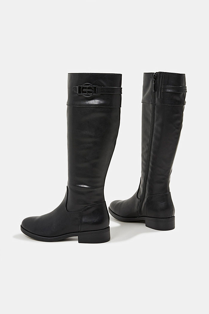 Faux leather riding boots, BLACK, detail image number 5