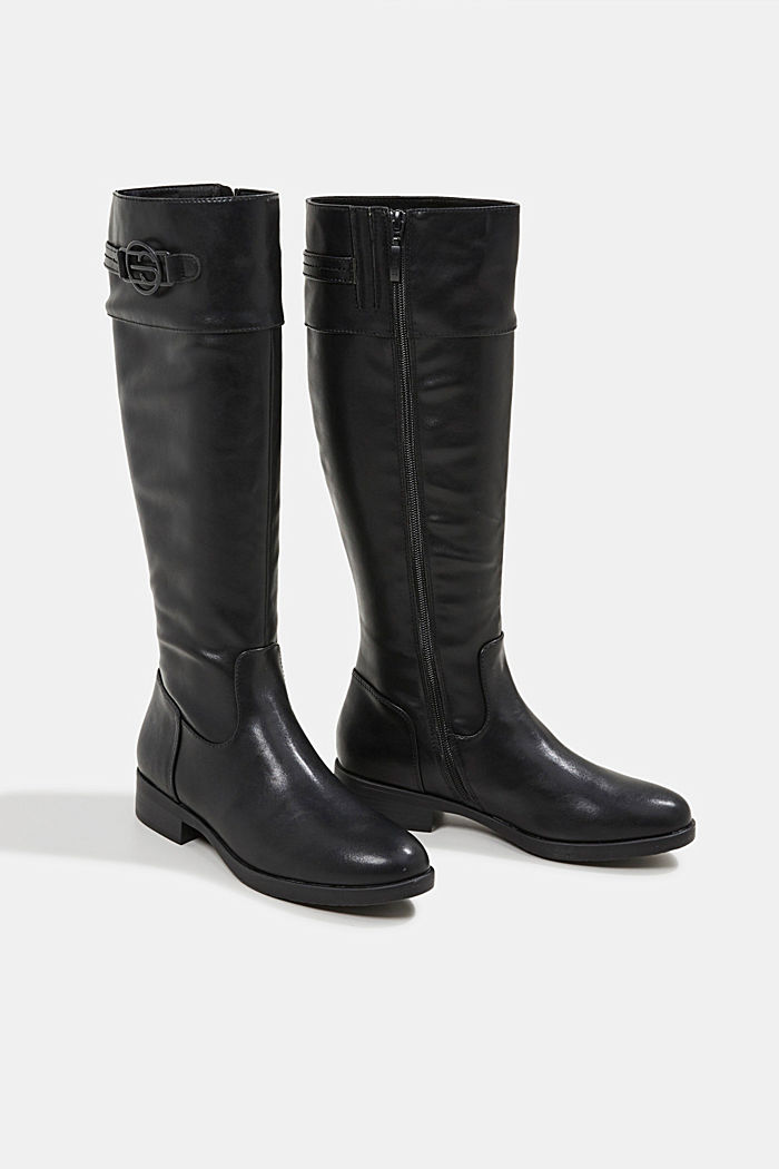 Faux leather riding boots, BLACK, detail image number 6