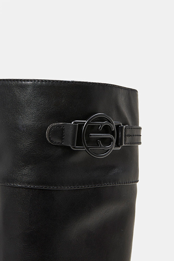 Faux leather riding boots, BLACK, detail image number 4