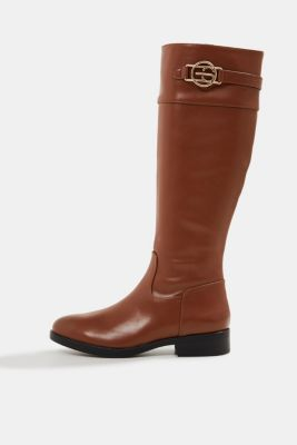 Faux leather riding boots, TOFFEE, detail