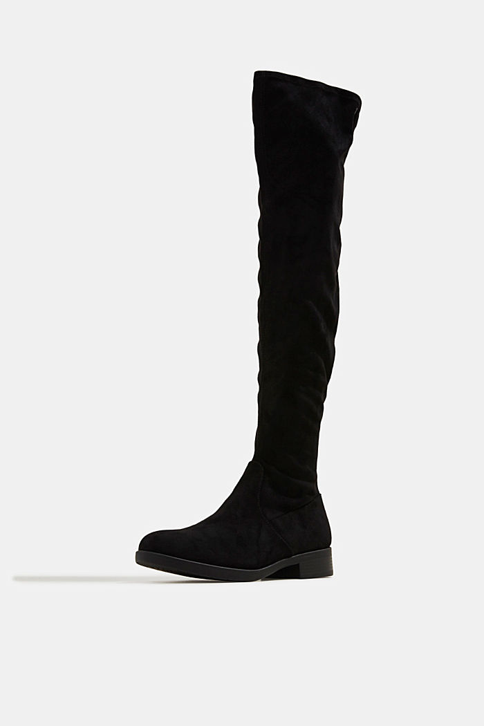 Over-the-knee boots in faux suede, BLACK, detail image number 2