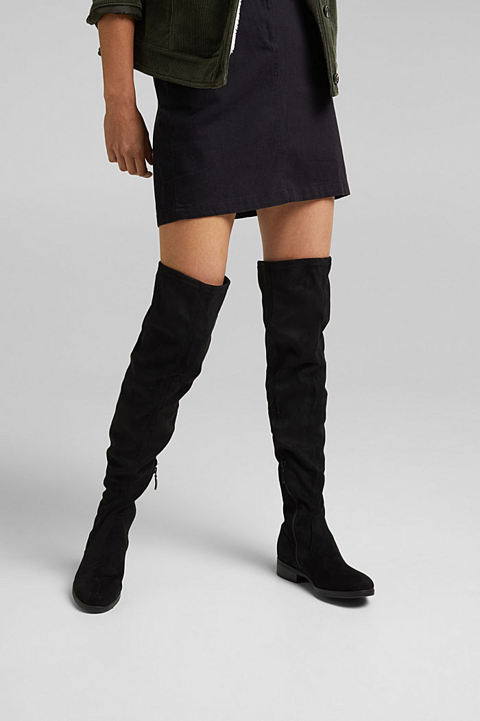 Overknees in Veloursleder-Optik