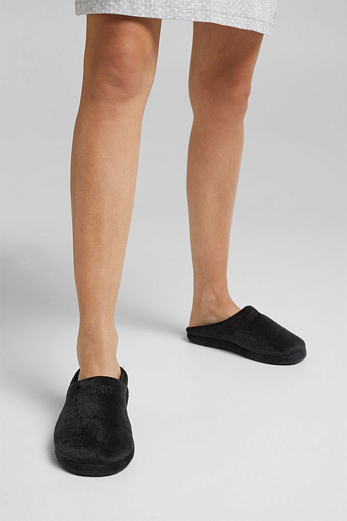 Faux-fur slip-ons, BLACK, detail image number 6
