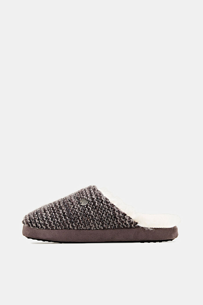 Slippers in a knit look, DARK GREY, detail image number 0