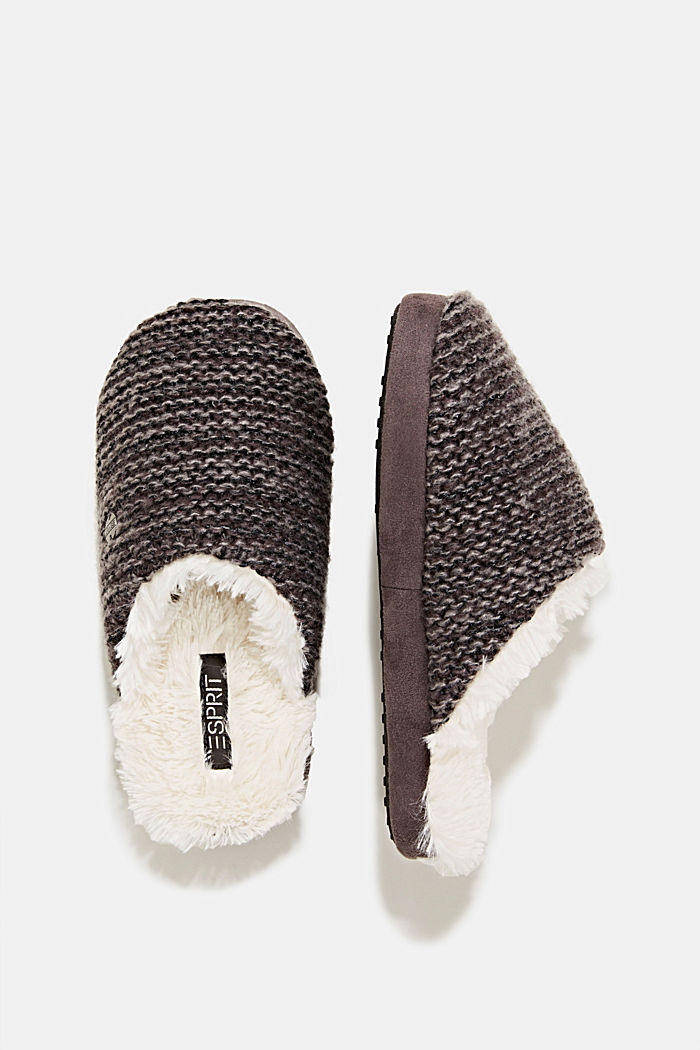 Slippers in a knit look, DARK GREY, detail image number 1