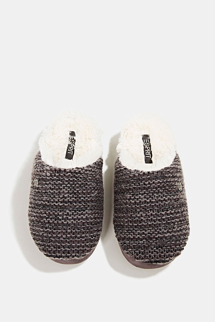 Slippers in a knit look, DARK GREY, detail image number 3