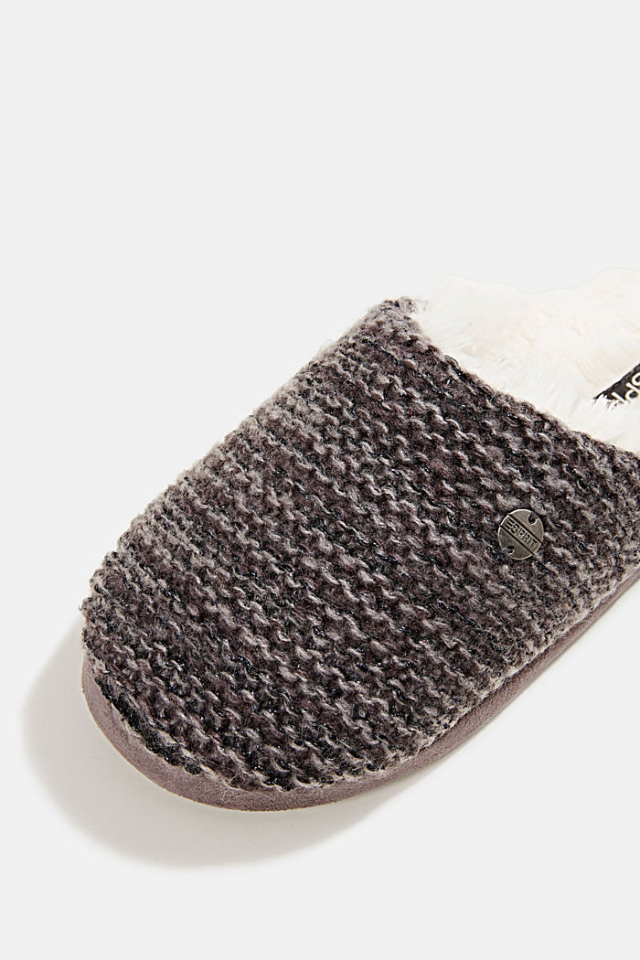 Slippers in a knit look, DARK GREY, detail image number 4