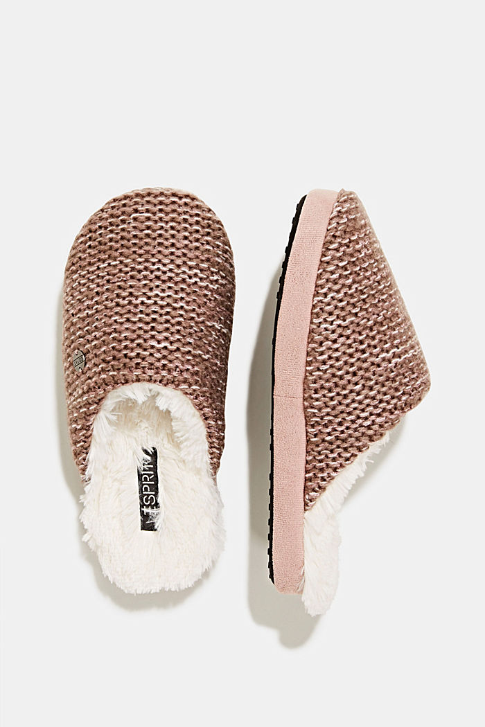 Slippers in a knit look, NUDE, detail image number 1