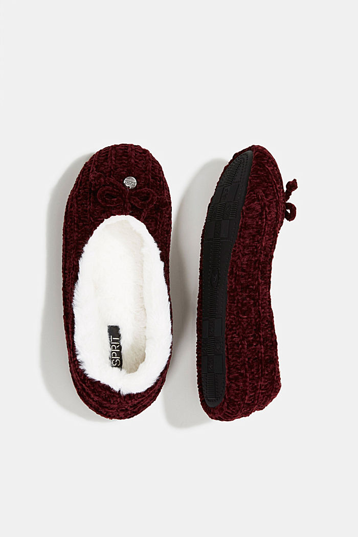 Slippers in a knit look, DARK RED, detail image number 1