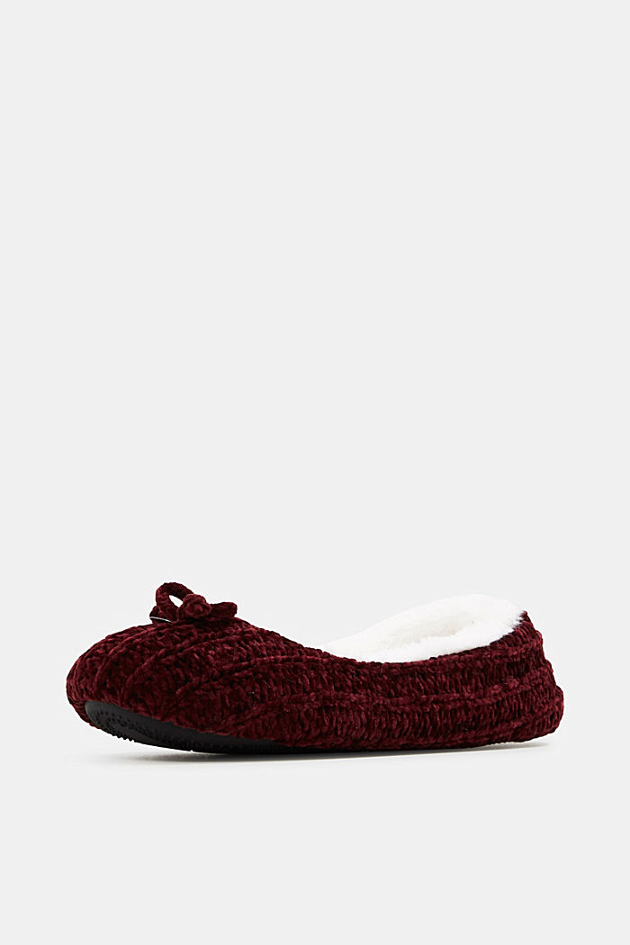 Slippers in a knit look, DARK RED, detail image number 2