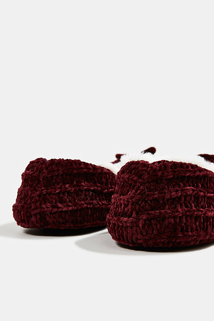 Slippers in a knit look, DARK RED, detail image number 3