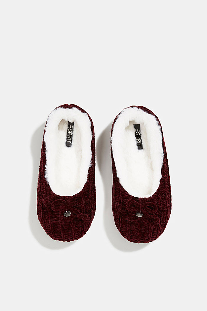 Slippers in a knit look, DARK RED, detail image number 4