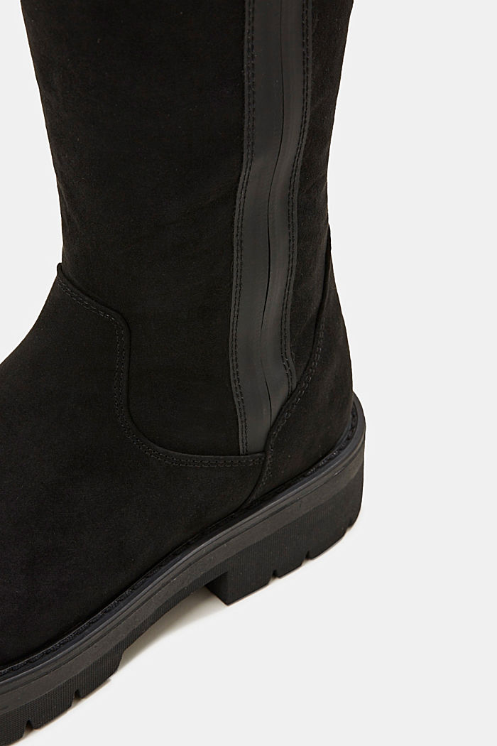 Suede boot with a wide sole, BLACK, detail image number 4