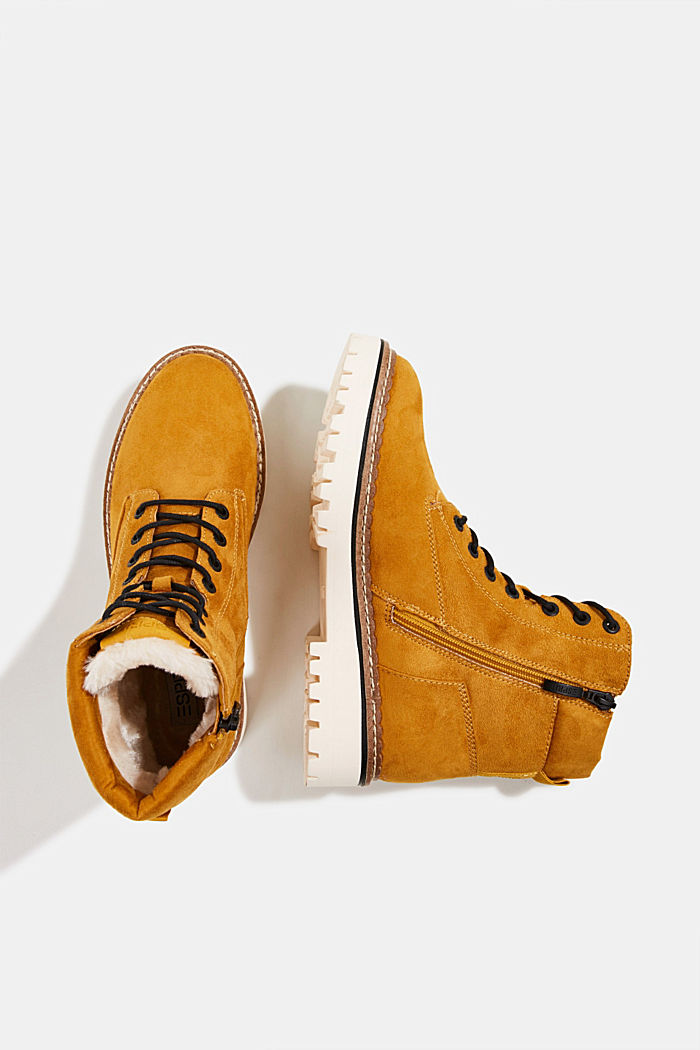 Faux leather lace-up boots, AMBER YELLOW, detail image number 1