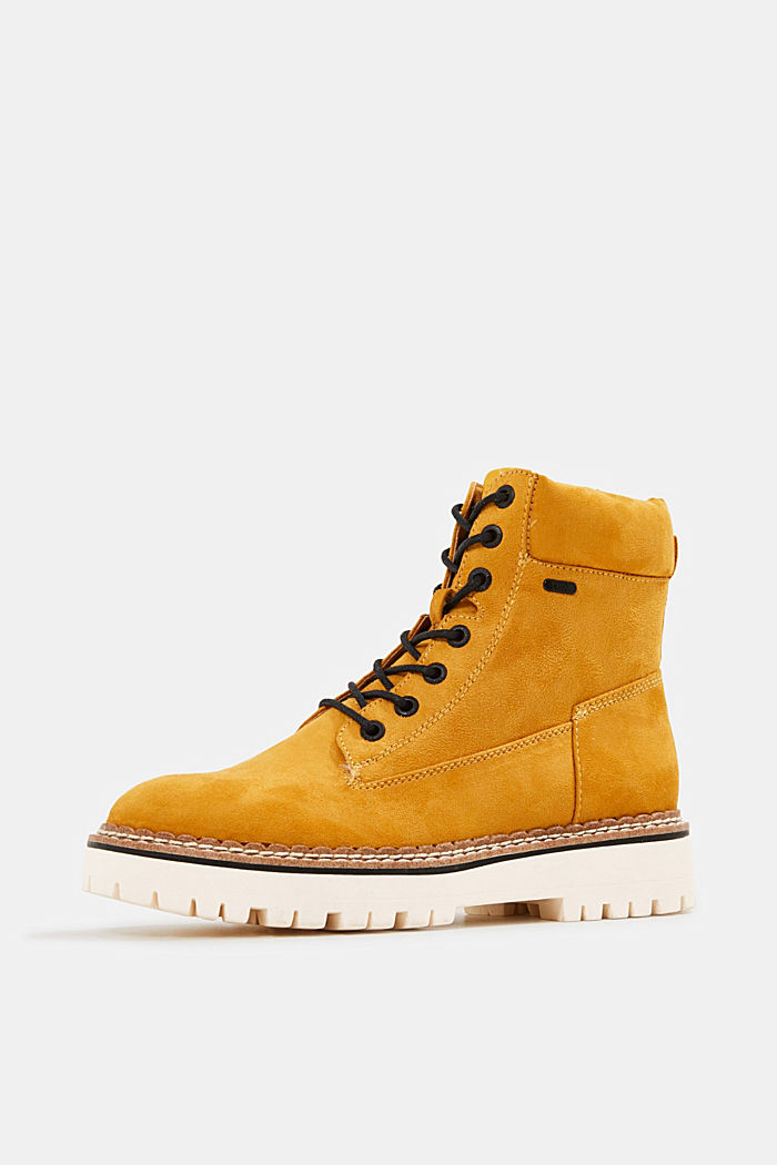 Faux leather lace-up boots, AMBER YELLOW, detail image number 2