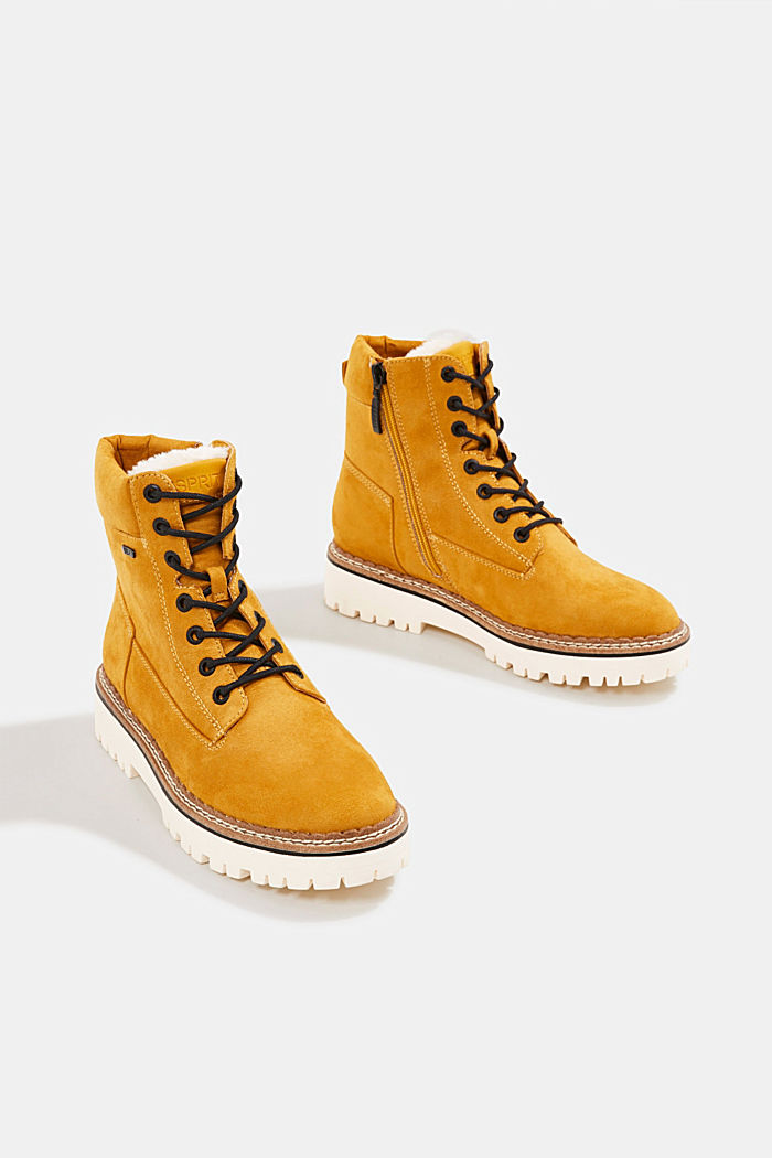 Faux leather lace-up boots, AMBER YELLOW, detail image number 5