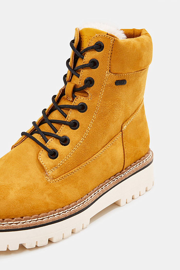 Faux leather lace-up boots, AMBER YELLOW, detail image number 4