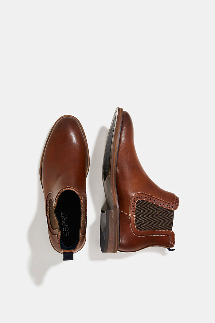 Chelsea-Boots in Leder-Optik, TOFFEE, detail image number 1