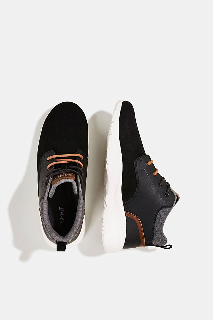 Including leather: Trainer ankle boots, BLACK, detail image number 1