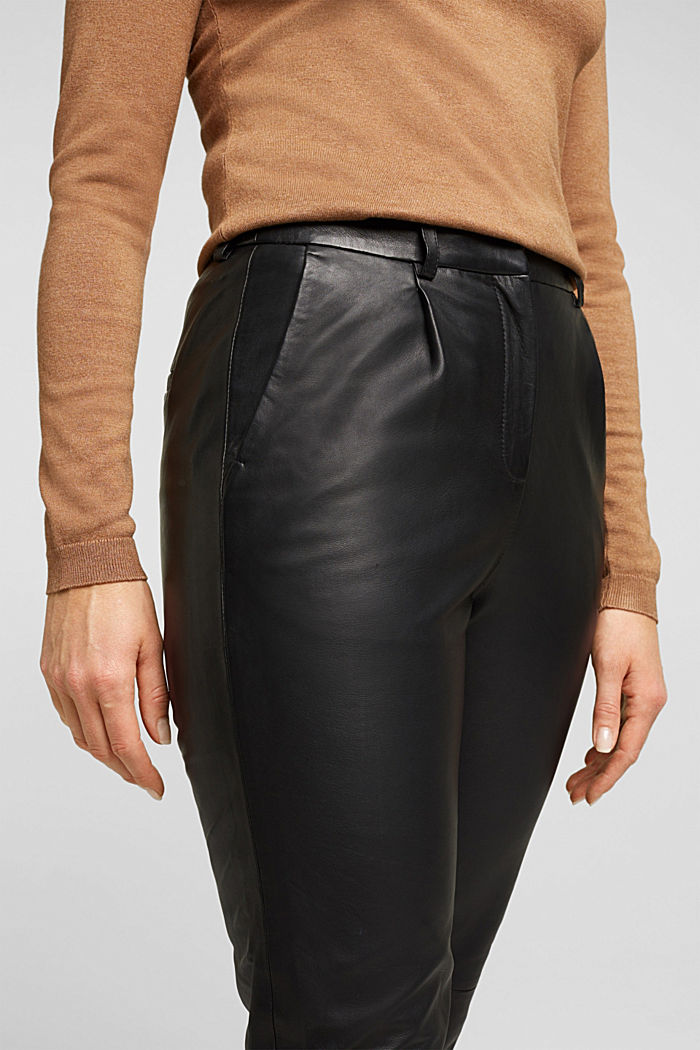 High-rise trousers made of 100% lamb leather, BLACK, detail image number 2
