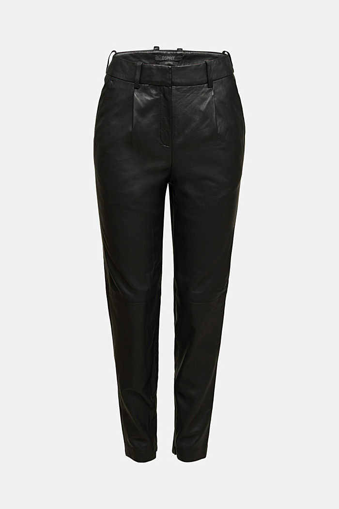 High-rise trousers made of 100% lamb leather, BLACK, detail image number 6