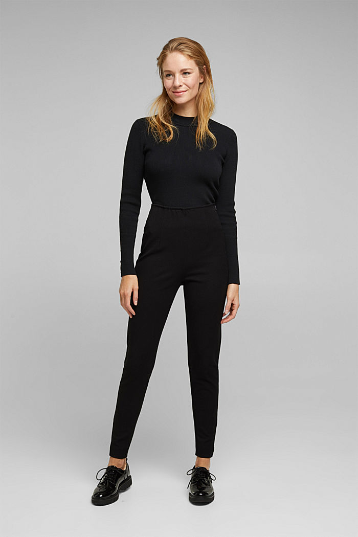 Two-way stretch trousers with LENZING™ ECOVERO™, BLACK, detail image number 1