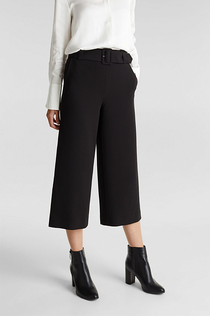 Culottes with stretch for comfort, BLACK, detail image number 0