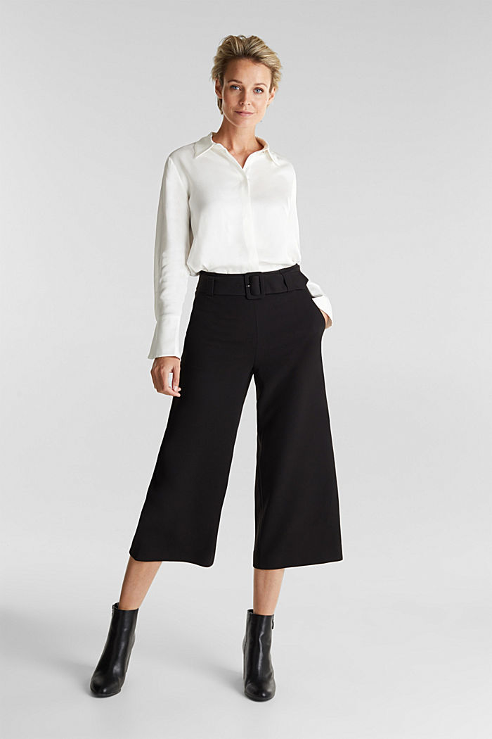 Culottes with stretch for comfort, BLACK, detail image number 1
