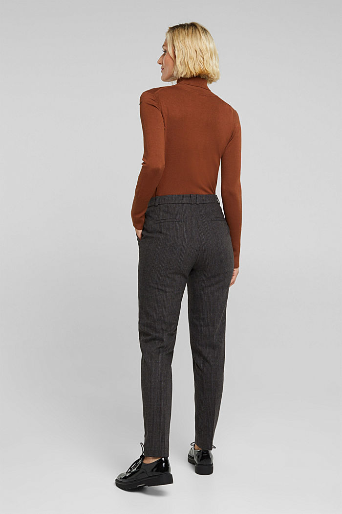 Wool blend: CHECK mix + match trousers, DARK BROWN, detail image number 3