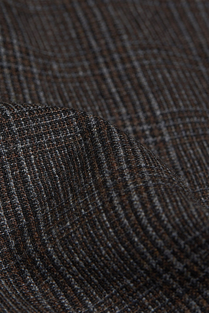 Wool blend: CHECK mix + match trousers, DARK BROWN, detail image number 4