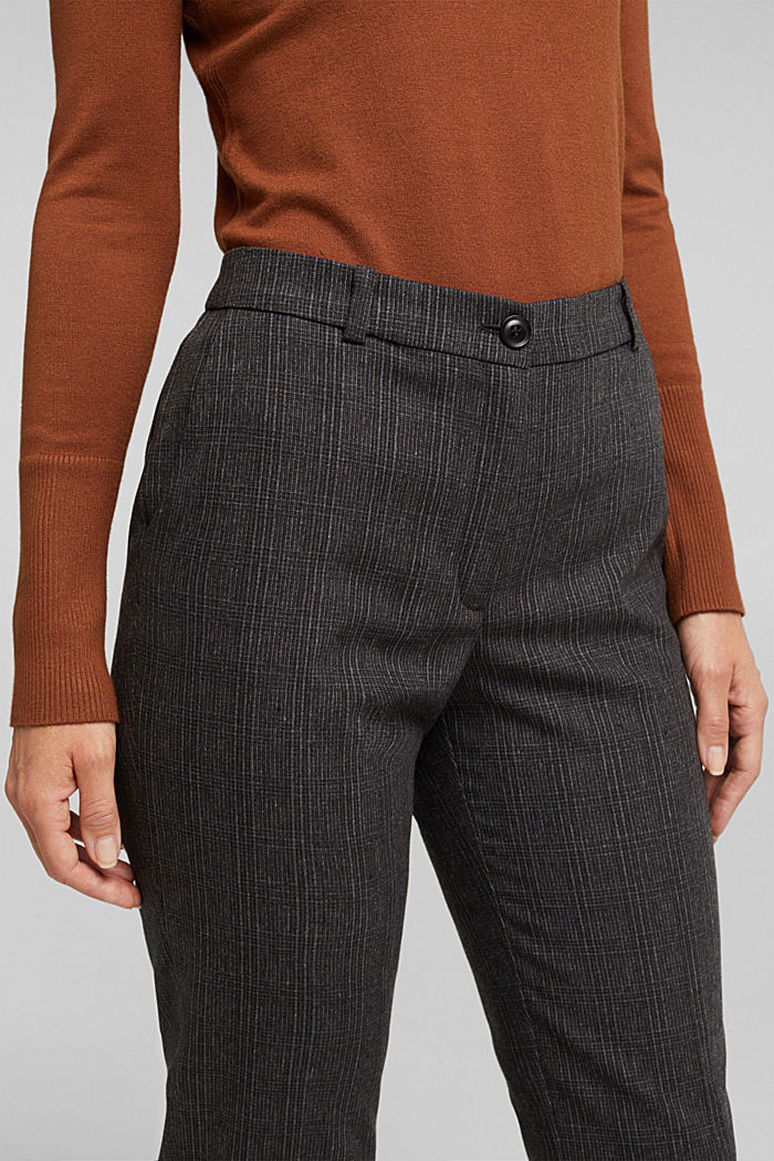 Wool blend: CHECK mix + match trousers, DARK BROWN, detail image number 5