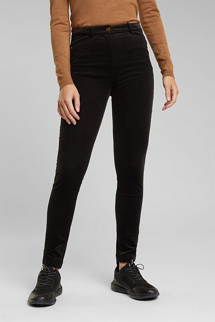 Soft needlecord trousers with stretch, BLACK, detail image number 0