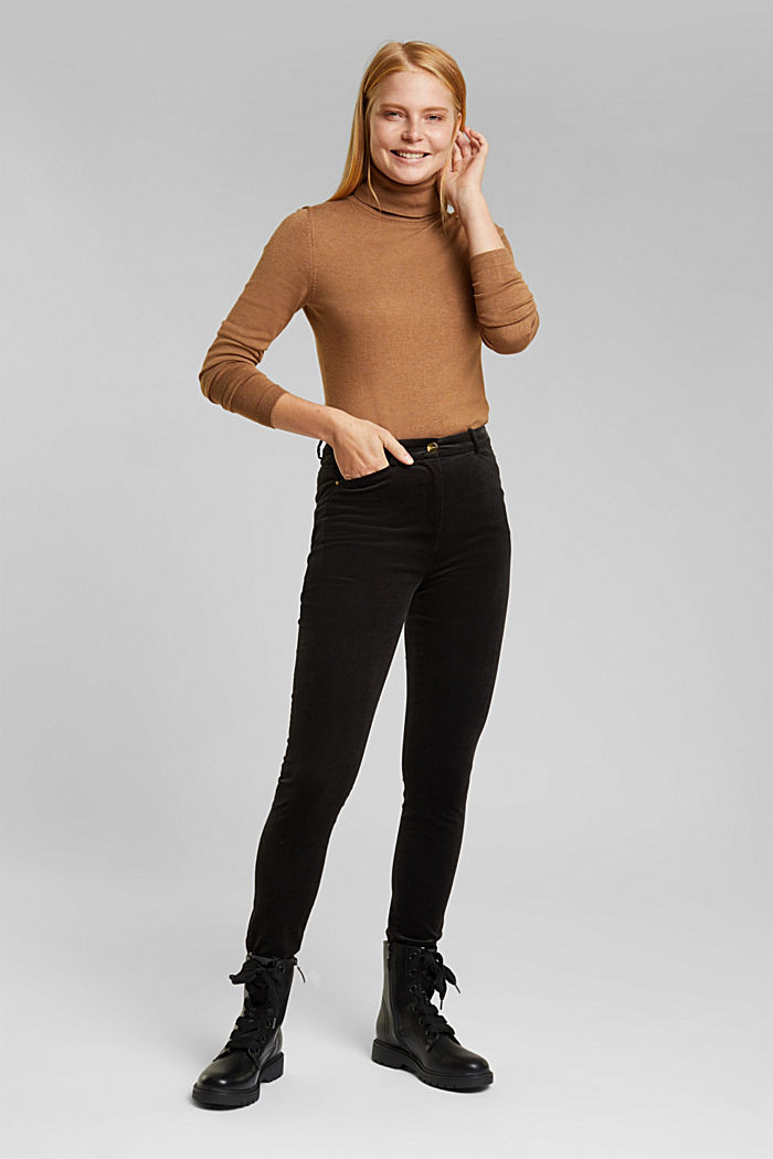 Soft needlecord trousers with stretch, BLACK, detail image number 1