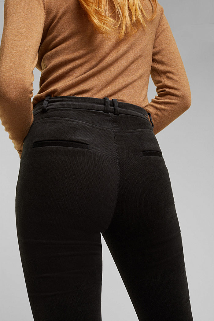 Soft needlecord trousers with stretch, BLACK, detail image number 5