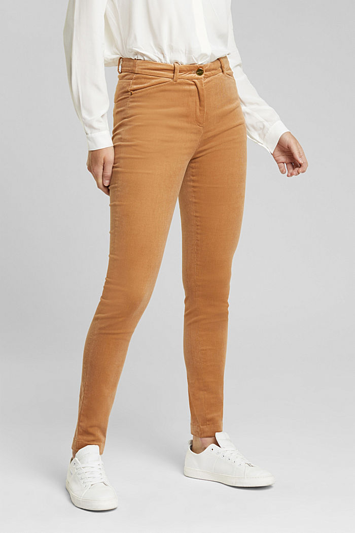 Soft needlecord trousers with stretch, CAMEL, detail image number 0