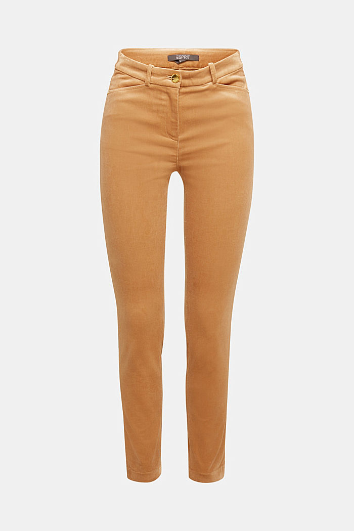 Soft needlecord trousers with stretch, CAMEL, overview