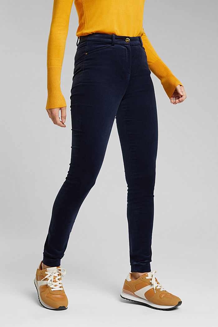 Soft needlecord trousers with stretch, NAVY, detail image number 0