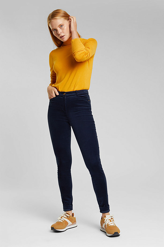 Soft needlecord trousers with stretch, NAVY, detail image number 1