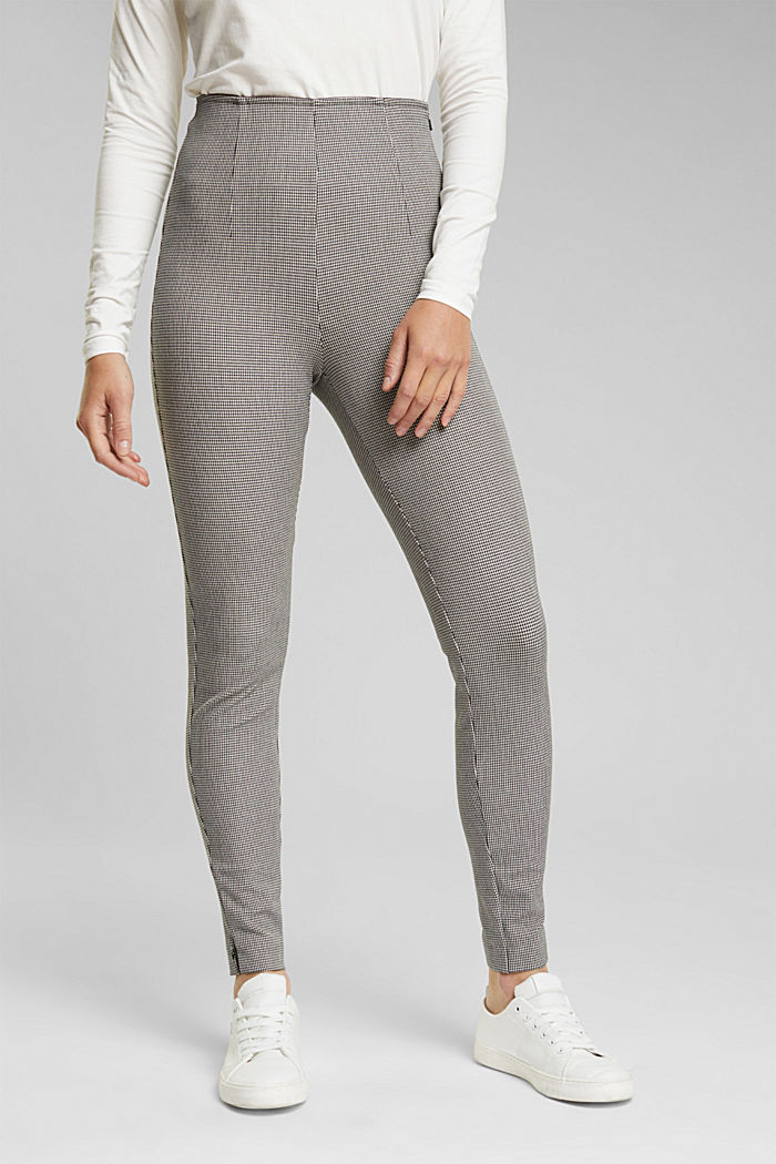 Bi-stretch treggings with mini checks, DARK GREY, detail image number 0