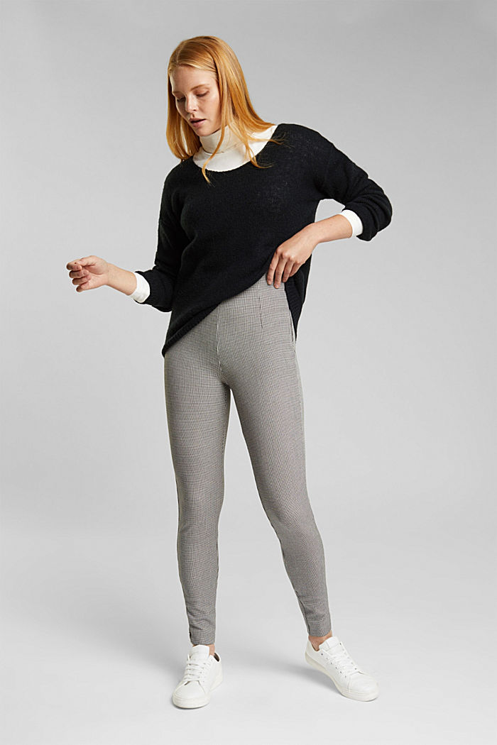 Bi-stretch treggings with mini checks, DARK GREY, detail image number 1
