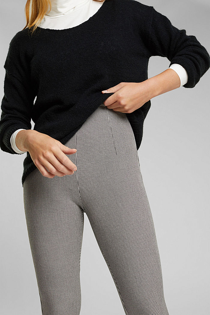 Bi-stretch treggings with mini checks, DARK GREY, detail image number 2