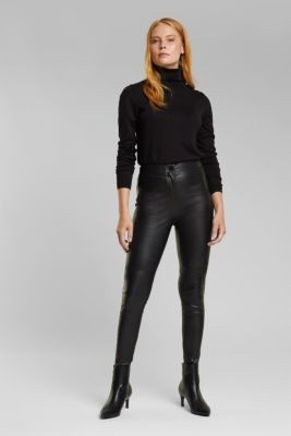 Treggings made of pure lamb leather, BLACK, detail