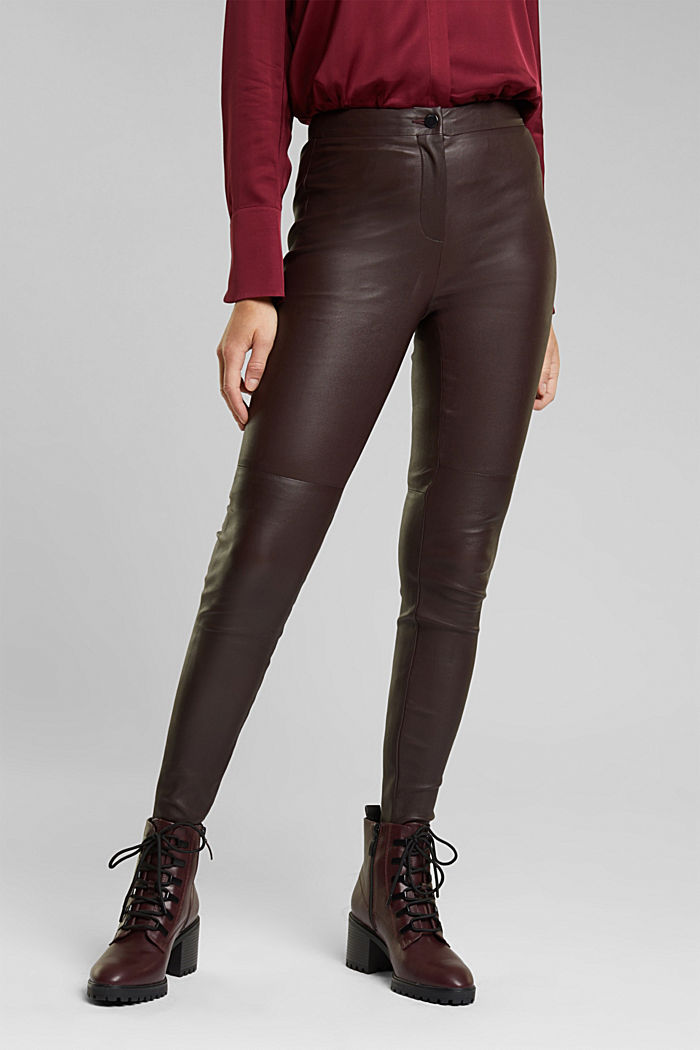 Treggings made of pure lamb leather, BORDEAUX RED, detail image number 0