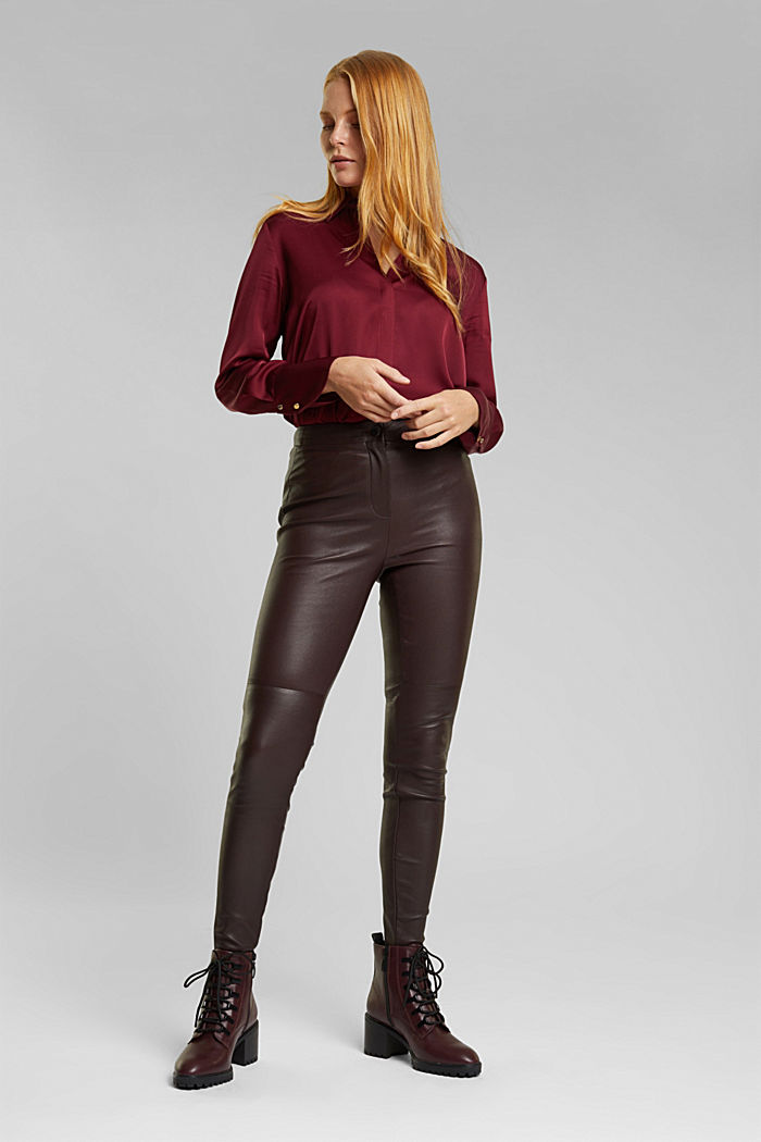 Treggings made of pure lamb leather, BORDEAUX RED, detail image number 1